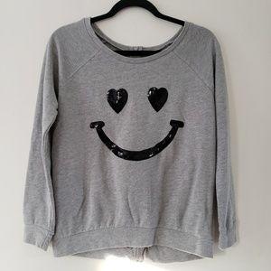 Rebellious One Sequin Smiley Gray Sweatshirt Sm.